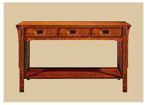 Arts crafts mission style tables limbert table end for Arts and crafts sofa table